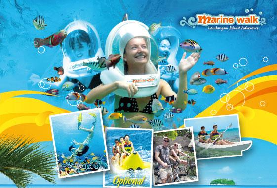 巴厘岛一日游 Marine Walk 蓝梦岛海底漫步+浮潜+香蕉船+骑自行车乡村游+中文导游 出海自由行