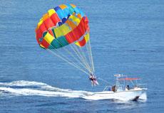巴厘岛自由行旅游景点 海上降落伞 南湾水上活动一日游之拖伞Parasailin代理预订