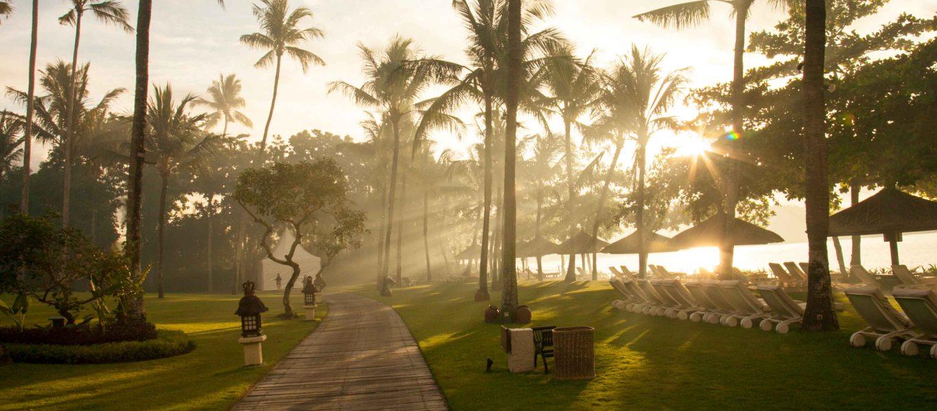 巴厘岛金巴兰洲际酒店清晨阳光穿过椰子树撒在沙滩上